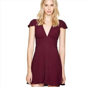 Aritzia Sunday Best Rand Cutout Burgundy Dress